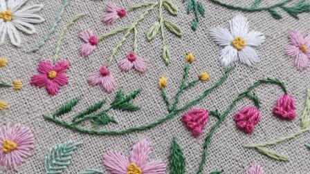 手工刺绣——盼春来7,万能的缎面绣,绣花绣叶绣春来