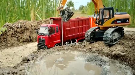 创意玩具 挖掘机联合彩色卡车运输泥沙