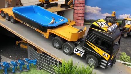 玩具大卡车给建筑工人运来大水池