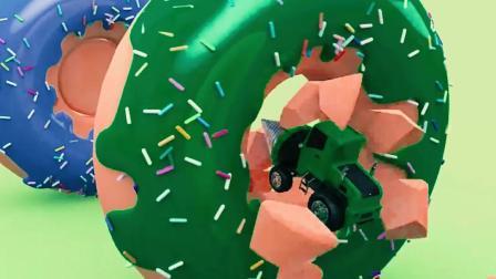 儿童工程车动画 钻探车进入彩色甜甜圈