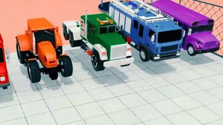 儿童工程车动画 拖拉机推球球