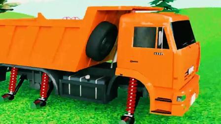 儿童工程车动画 帮助货车更换超级轮胎