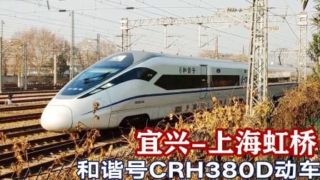 近距离实拍和谐号380D动车,宜兴至上海虹桥G7353次通过艮山门