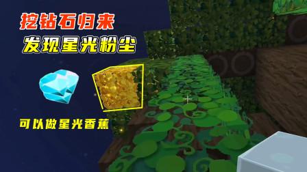迷你世界雨林生存7:小墨挖钻石归来,在雨林发现两处星光粉尘