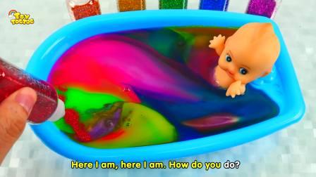 快乐亲子互动,彩色颜料DIY迷你浴盆小宝贝洗彩色浴,太有意思