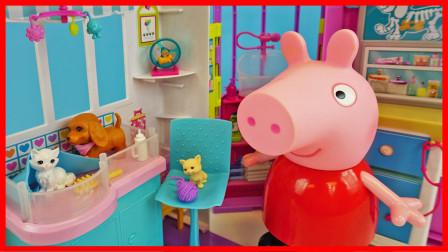 小猪佩奇在宠物医院照顾可爱的小猫咪故事