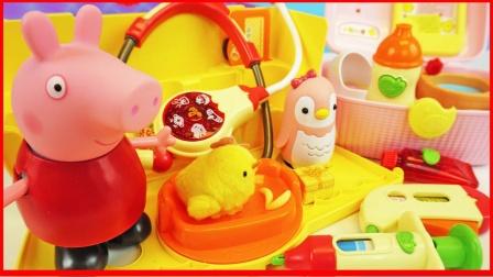 小猪佩奇照顾小鸡宝宝的玩具故事