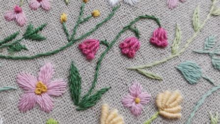 手工刺绣——盼春来8,用这两种针法组合绣铃兰,简单好看又形象