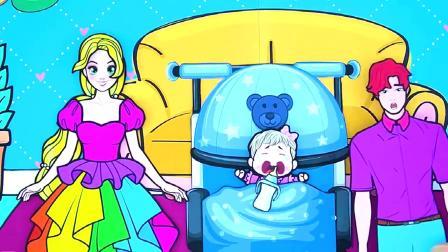 纸娃娃装扮:家庭彩虹裙亲子装,长发公主家的小芭比可淘气了