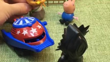 怪兽抓乔治大雨,乔治让大雨用发射器,把怪兽打倒了!