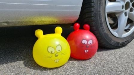 趣味脑洞实验:牛人驾驶汽车碾压萌萌哒玩具气球