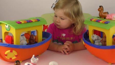 萌娃小可爱和妈妈一起玩玩具,小可爱要怎么给动物们分配船只呢