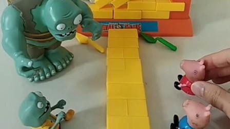 乔治佩奇把巨人僵尸家的墙拆了,猪爸爸给孩子做主,猪爸爸真勇敢