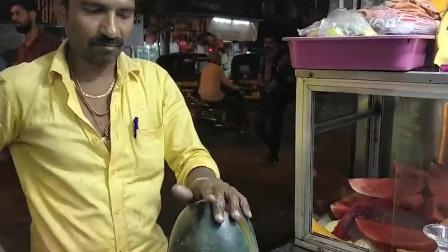 """印度街头""""水果忍者"""",开挂的刀功,食客:刀都快看不见影子了!"""