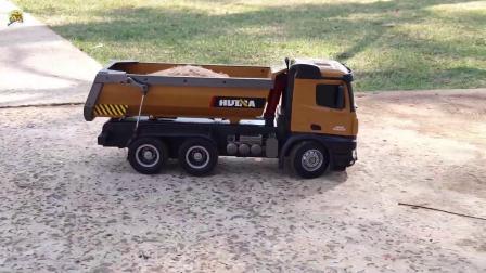 仿真遥控液压自卸车和手工大铲车玩具,儿童车辆玩具