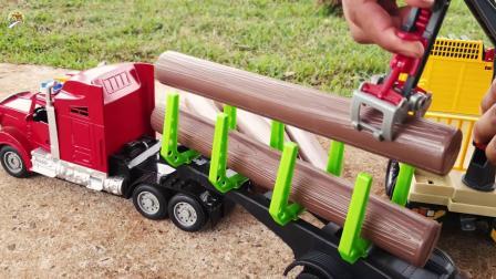 原木大卡车和抓铲起重机玩具,儿童工程车玩具