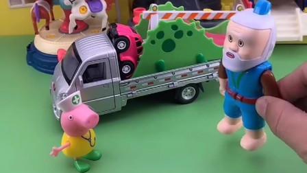 老爷爷捡到很多玩具,小猪佩奇来游乐场玩耍,发现玩具都没有了
