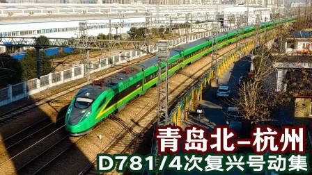 青岛北至杭州D781次复兴号动集列车,下行通过艮山门接近终点