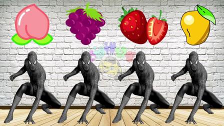 蜘蛛侠吃到不同颜色的水果变身跳舞