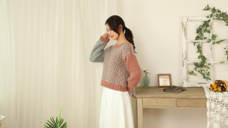 毛儿手作【第M493期】棒针编织马海毛岁岁女士套头毛衣视频教程
