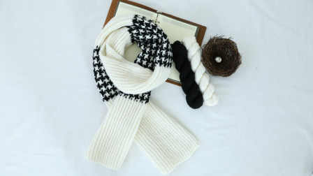 毛儿手作【第M494期-02】棒针编织印象羊毛千鸟格墨白围巾视频教程