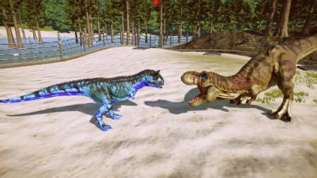 侏罗纪世界:小恐龙被远处的霸王龙拦截,看来跑不掉了