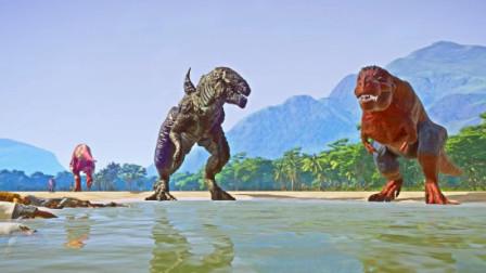 侏罗纪世界:两只重量级的恐龙,干起来了是要武力解决吗