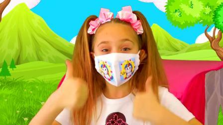 儿童亲子互动,小女孩抗病毒游戏亲子互动卫生习惯,真聪明