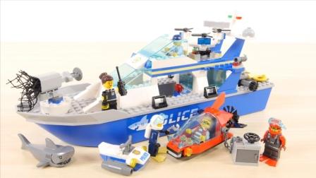 乐高城市系列60277,警用巡逻艇搭建和展示
