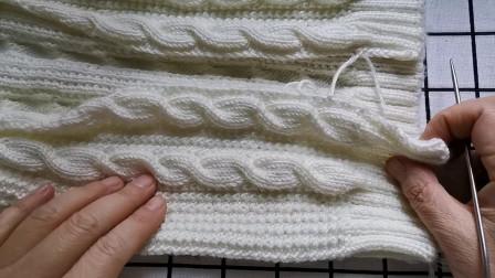 麻花毛衣门襟的编织教程,讲解这个门襟边用棒针挑针的编织方法