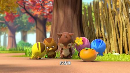 萌鸡小队:萌鸡错拿别人的柿子,准备放回去,知错就改就是好孩子