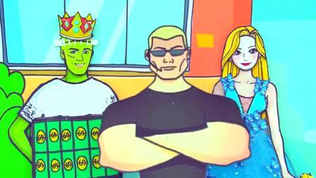 纸娃娃装扮:弗兰肯和长发公主亲亲我我,萨达科公主生气了