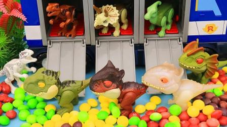 调皮的恐龙和彩虹豆豆