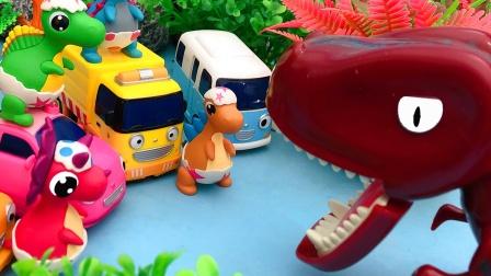 小恐龙们遇到危险 汽车勇士来帮忙