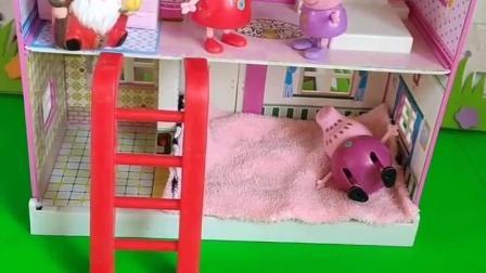 佩奇正在睡觉,还以为有坏人来了,把猪妈妈给叫来了