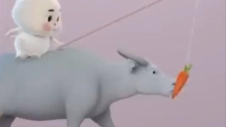 搞笑免宝宝:牛背上的快乐