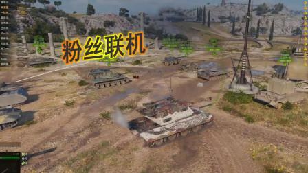 坦克世界:与粉丝朋友联机,艰难获胜,拿到了勇士勋章