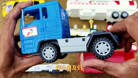 组装油罐车,小轿车和自卸大卡车玩具