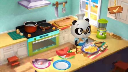 熊猫餐厅:饭点到了熊猫博士做饭了!