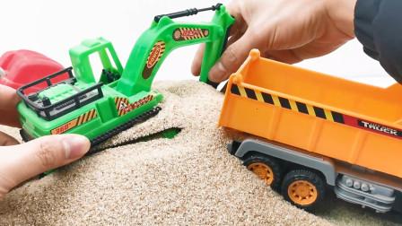 挖掘机和运输车工作模拟
