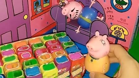 猪妈妈给佩奇乔治买了好多糖,佩奇乔治趁妈妈不在,拿走了糖