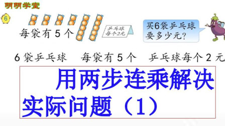 苏教版小学数学三年级下册《两位数乘两位数》(7)用两步连乘解决实际问题(一)