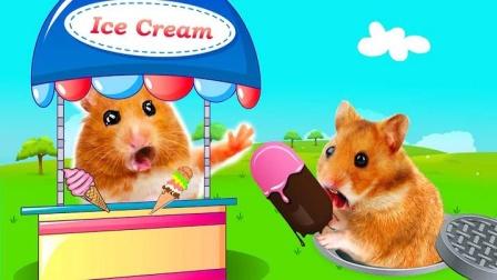 仓鼠宝宝吃冰淇淋