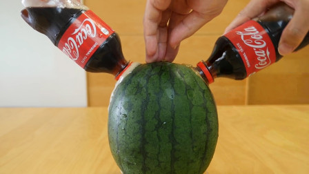 给西瓜喝了整整2瓶可乐,再切开会什么样?