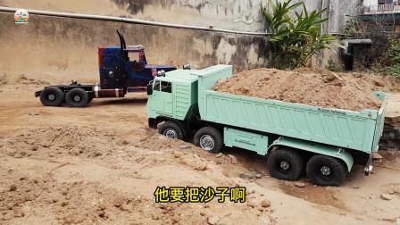 重型自卸大卡车自卸车运输泥土真好玩