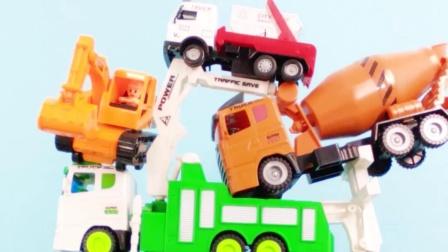 一起来挑战工程车叠高高 挖掘机 翻斗车