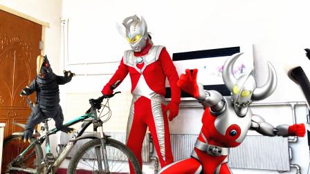 闯关族M78:怪兽躲进了奥特之父的自行车里面!泰罗还敢出手吗?赛文奥特曼日常
