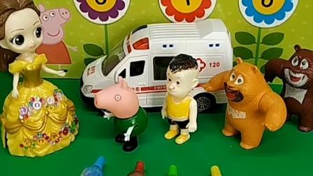 贝尔让小朋友们排好队打预防针,乔治害怕,要排到后面去
