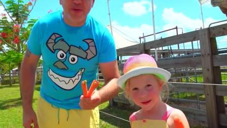 萌宝游戏,娜斯佳和爸爸在农场玩,快来看看吧