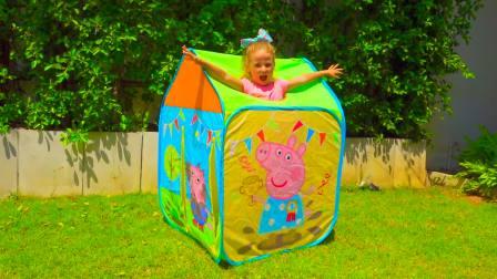 儿童亲子互动,小萝莉蓝塘游泳池DIY小猪佩奇橡皮船,太有意思